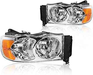 Replacement Headlight Assembly GDGPU02-A2 with Chromed Housing Amber Reflector Clear Lens for Dodge Ram 1500 2500 3500 Pickup Truck 2002-2005 OE # 55077121AG 55077121AF