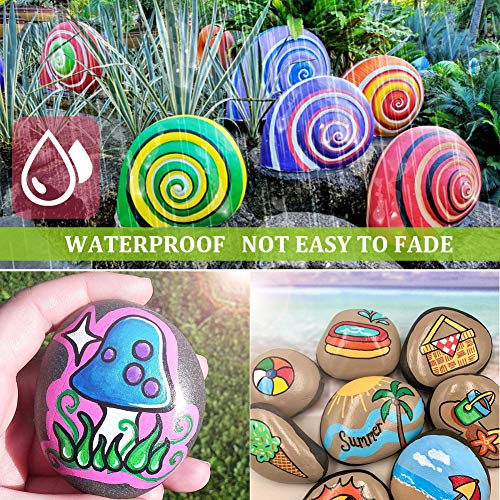 Acrylic Paint Pens,Emooqi Marker Pens for DIY Craft Projects Waterproof Permanent Paint Art Marker for Rock Painting, Ceramic, Glass,Canvas,Mug,Wood,Metal-0.7mm fine tip (18 PCS)