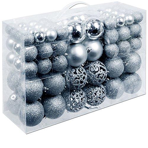 Deuba Weihnachtskugeln 100 Stück Silber - Christbaumkugeln Baumschmuck Weihnachtsbaumschmuck
