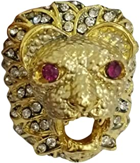 winsopee Men Fashion Diamond Ring Punk Style Lion Head Gold Filled Natural Ruby Gemstone Mothers Day Jewelry Gift