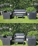 Lüllmann Polyrattan Gartengaritur Sofa Essgruppe Gartenset Sitzgruppe Lounge Möbel als 4 Sitzer...
