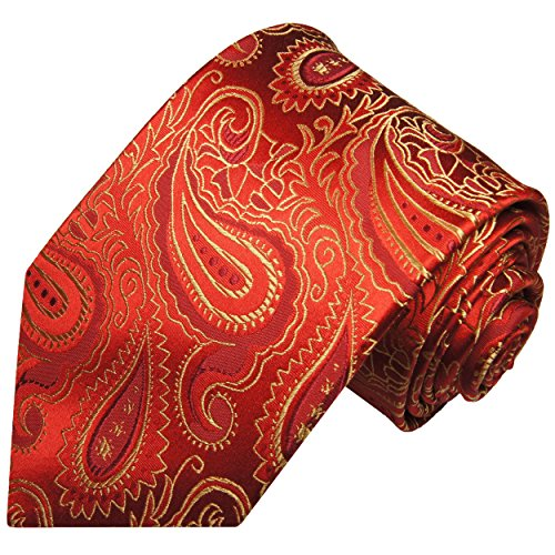 Cravate homme rouge or paisley 100% soie