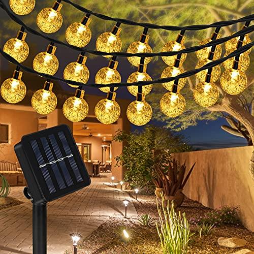 Sylanda LED Solar Lichterkette 6.5M 30 LEDs Kugel 8 Modi IP65 Wasserdicht Lichterkette mit Lichtsensor, Kristallbälle Beleuchtung für Außen, Indoor Gärten, Rasen, Weihnachten Party