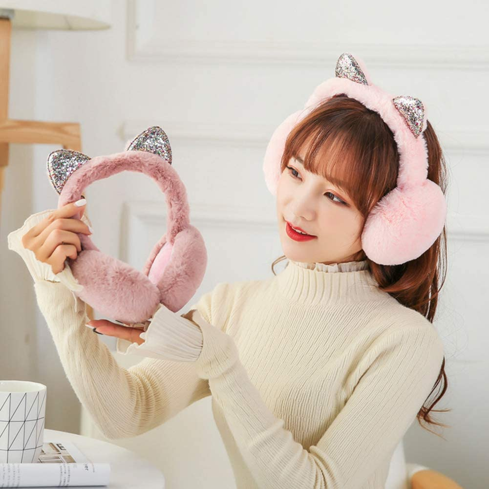Wansan Winter Ear Muffs Foldable Adjustable Plush Cat Ear Shape Ear Warmer Soft Ear Protection