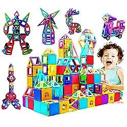 infinitoo 162tlg Magnetische Bausteine Magnetic Bauklötze Baukasten Kinder   Tolles Geschenk Lernspielzeug für Kinder ab 3 Jahre   Perfekt für den Einsatz zu Hause, in Schulen, Kindertagesstätten etc.