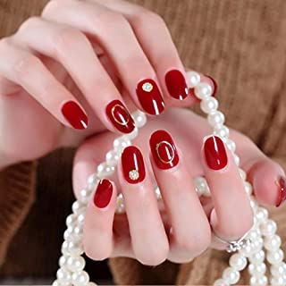 GGSELL Fake Nail - 24pcs Artificial Flase Nails With Glue Fake False Nails Tips Red Pointed Head Full Cover Nail Tips Nude