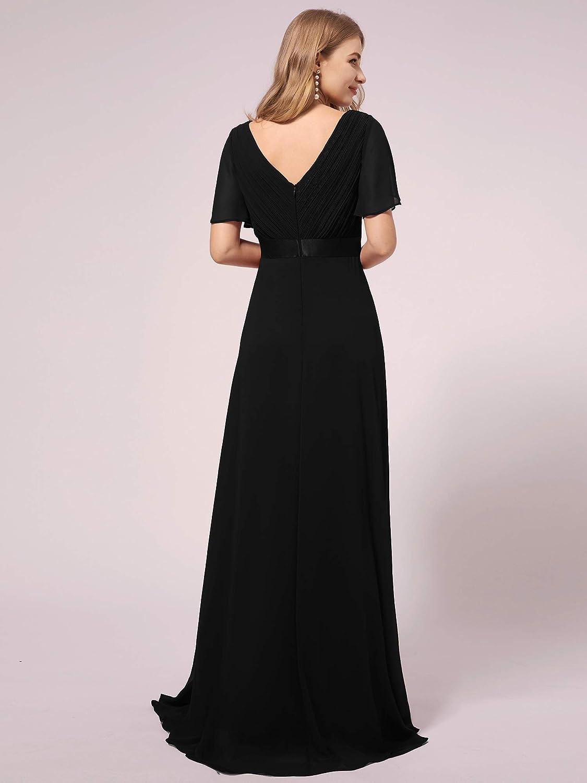 Ever-Pretty Womens V Neck Short Flutter Sleeves Empire Waist Chiffon A Line Maternity Evening Gowns Pregnant Dresses 09890