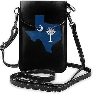 Small Crossbody Bags South Carolina Flag Texas Map Cell Phone Purse Wallet Lightweight Travel Passport Bag For Women And Teen Girls