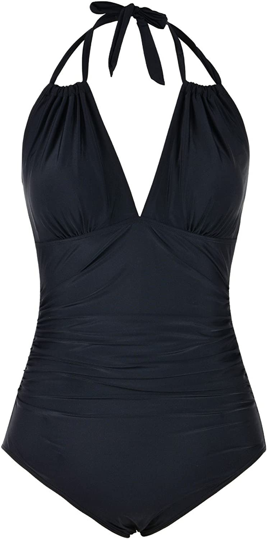 Mycoco Women's Congreenible Halter Monokini Swimwear Keyhole Ruched One Piece Swimsuit Bikini Bathing Suit