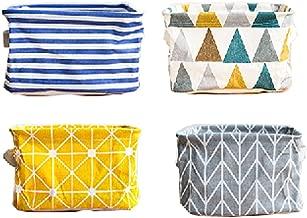 Lannu Pack 4 Canvas Storage Bins Basket Organizers Foldable Fabric Cotton Linen Blend Storage Bins for Makeup, Book, Baby Toy Basket, 8x6x5.5 inch