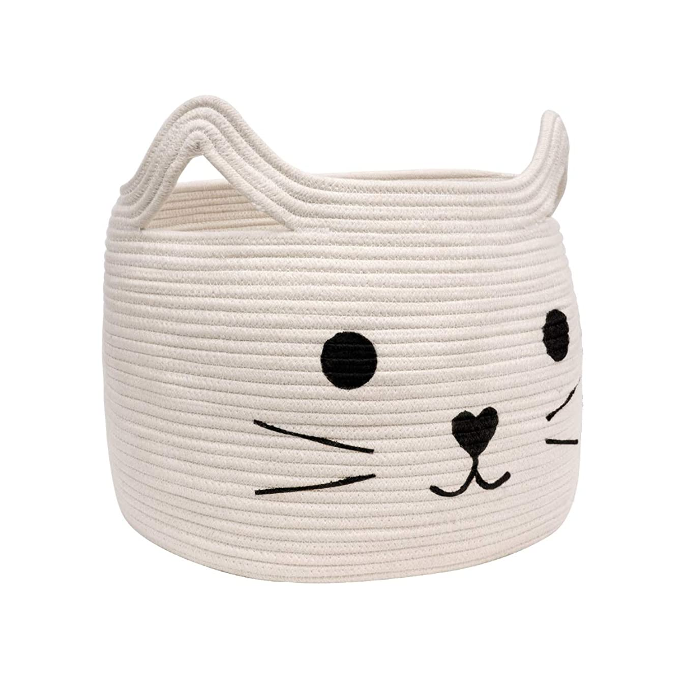 HiChen Large Woven Cotton Rope Storage Basket, Laundry Basket Organizer for Towels, Blanket, Toys, Clothes, Gifts | Pet Gift Basket for Cat, Dog - 15.7