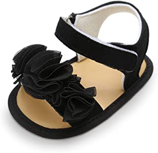 Baby Girls Cotton Bowknot Flowers Non-Slip Outdoor Toddler Summer Sandals First Walkers Shoes