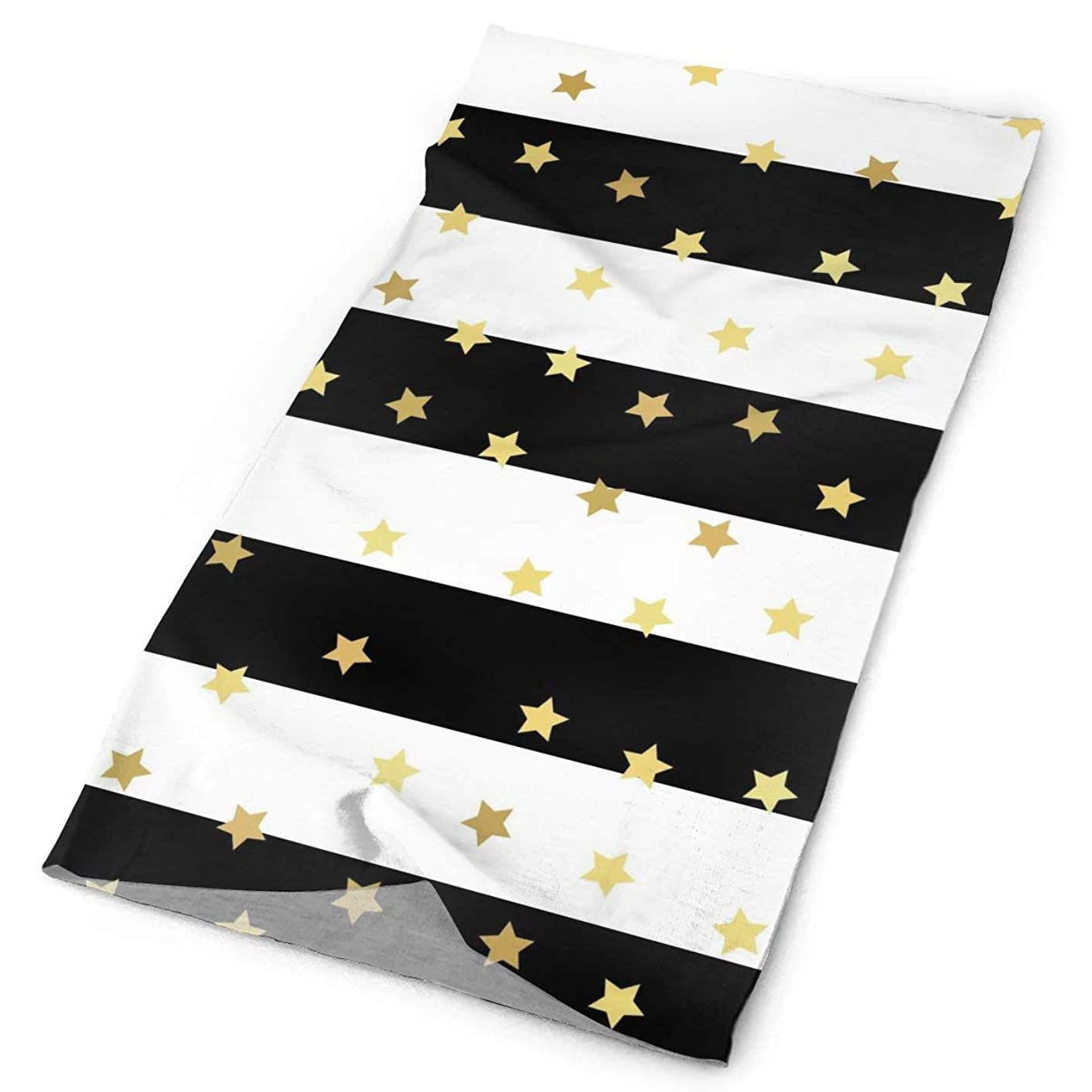 Black and Gold Stars Original Headband with Multi-Function Sports and Leisure Headwear UV Protection Sports Neck, Sweat-Absorbent Microfiber Running, Yoga, Hiking