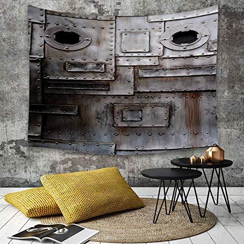 Tapestry,Hippie Tapiz,tapiz de pared con decoración para el hogar,Industrial, oxidado, estilizado, hierro, portilla, grunge, rayado, acero,para picnic Mantel o Toalla de Playa redonda 150 x 200 cm