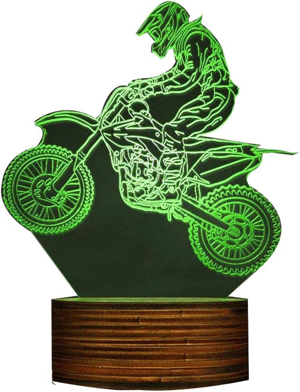 Dirt Bike 3D beleuchtet Display Schreibtischlampe, Motocross Bike Modernes Nachtlicht mit Farbwechsel und Fernbedienung Geschenk für Freestyle Motorcross Biker