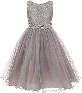 07f442b0693 Glitters Sequined Bodice Double Layer Tulle Rhinestones Sash Flower Girl  Dress