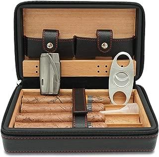 CiTree Cigar Humidor, Cigar Case, Cedar Wood Travel Portable Leather Cigar Humidor with Humidifier