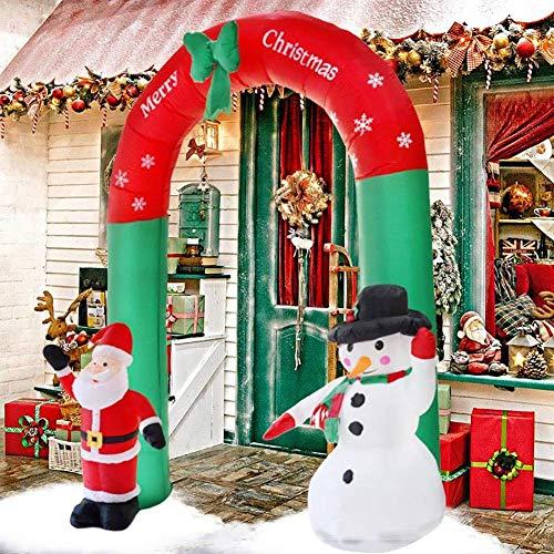 Crystally Arco con Babbo Natale e Pupazzo di Neve Gonfiabile Natalizia Arco Gonfiabile da 2,4 m Arco all'aperto Disposizione della sede con...