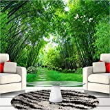Anasc Benutzerdefinierte Fototapete, 3D Grüner Bambuswald Großes Wandgemälde, Modernes Wohnzimmer Wandbild Wandtuch-260(W) x 175(H) cm