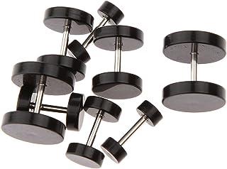 1 Par De 4,6,8,10mm Negro Falso Tapón Del Oído Del