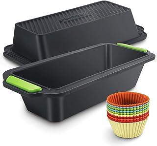 Familybox Moule à Cake rectangulaire avec Moules à muffin, Set à Pâtisserie Anti Adhérent Silicone - 29.2 x 12.8 x 6.2 cm...
