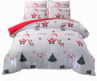 ADASMILE A & S Merry Christmas Duvet Cover Set Full Size Cartoon Santa Claus Bedding Set Xmas Home Decor Kids