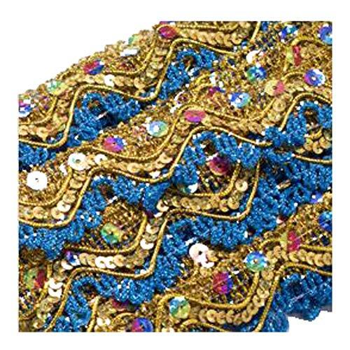 KOLIGHT 10 yards gouden glitter kwast ambachtelijke franje trim DIY partij jurk gordijn decoratie Blauw