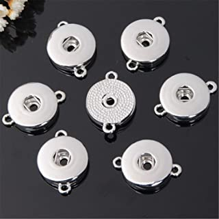 ZHU YU CHUN 12 Pcs Double Holes Hang Snap Base Pendant for Interchangeable Snaps Charms Jewelry Making-Necklaces