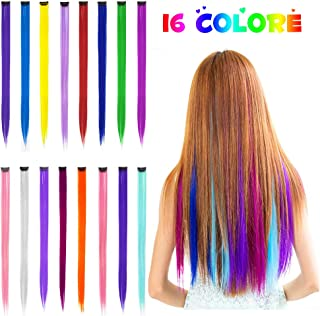 16 Pack Colored Clip in Hair Extensions Hair Wigs Pieces for Women, Synthetic Color Rainbow Tape in Hair Extension Clips, Highlights Straight Pink Red Blue Purple Fake Hair Accessories for Girls