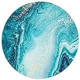 ITNRSIIET Mauspad mit Vernähte Kanten Rutschfest Gummierte Waschbar Verschleißfest rutschfestes Rundes Mauspads, niedliches Design Schreibtischzubehör, Blaues Marmor Gold
