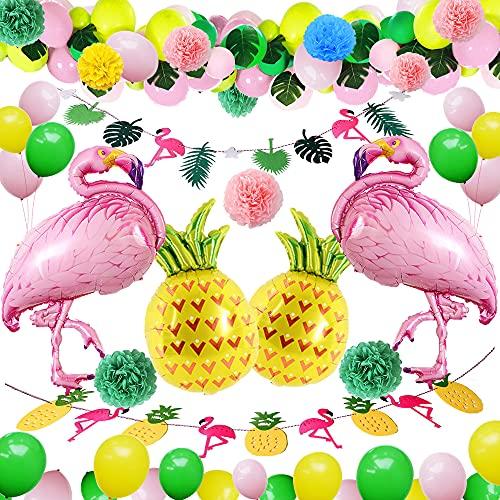 Tropical Flamenco Decoraciones,BIQIQI 54 Piezas Hawaiana Fiesta Globo kit con Flamingo Piña Lámina Globo,Verde Rosa Látex Globo para Verano Playa Piscina Niña Cumpleaños Fiesta Decoración