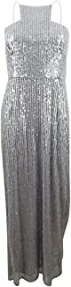 Women's Sequined Halter Full Length Gown