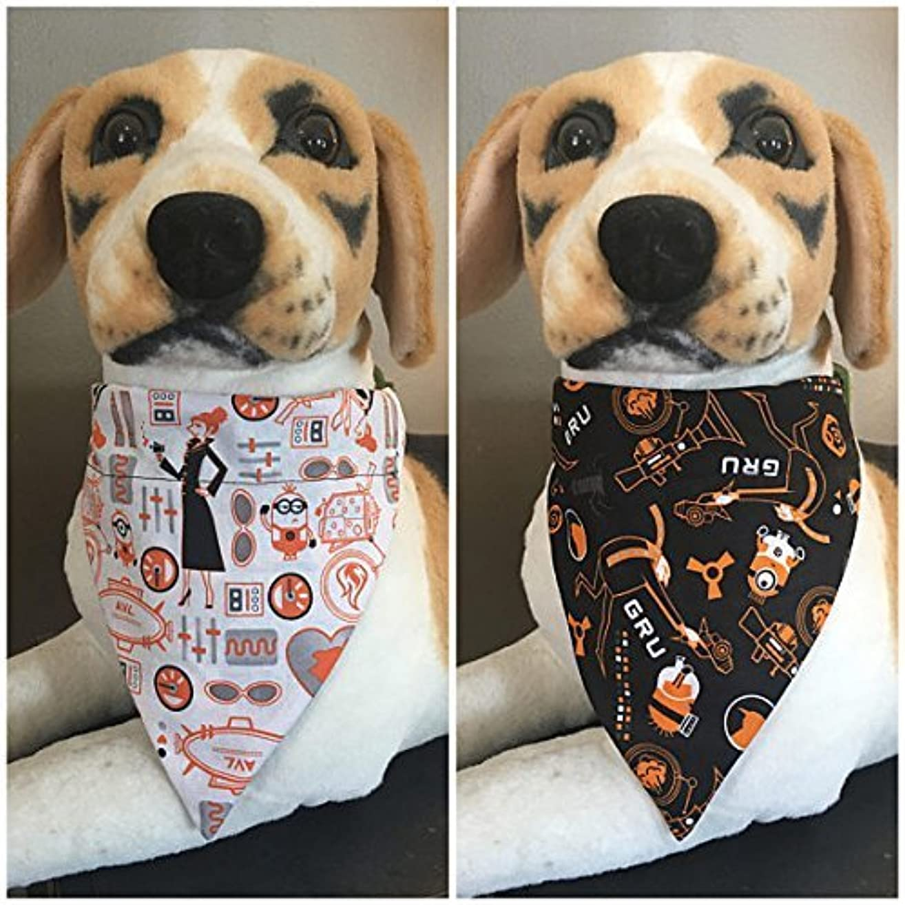 Despicable Me Reversible Pet Bandana Minion Gru and Lucy Over The Collar
