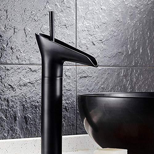 Badkamer zwart wijnglas ik vorm kraan, zwarte puur koperen kraan, wastafel kraan, hotel wastafel kraan, puur koperen wastafel kraan, badkamer waterval kraan,