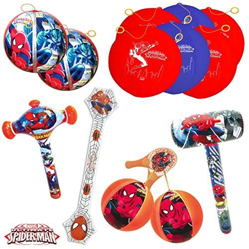 TB TOYS Spiderman Kit de Fiesta de cumpleaños con 13 Juguetes hinchables para los niños