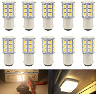 Warm White 3000K 1142 BA15D LED Bulbs 5050 18-SMD Replacement Lamps 12V Interior RV Camper Trailer Lighting Boat Yard Light Brake Tail Bulbs Pack of 10 JAVR