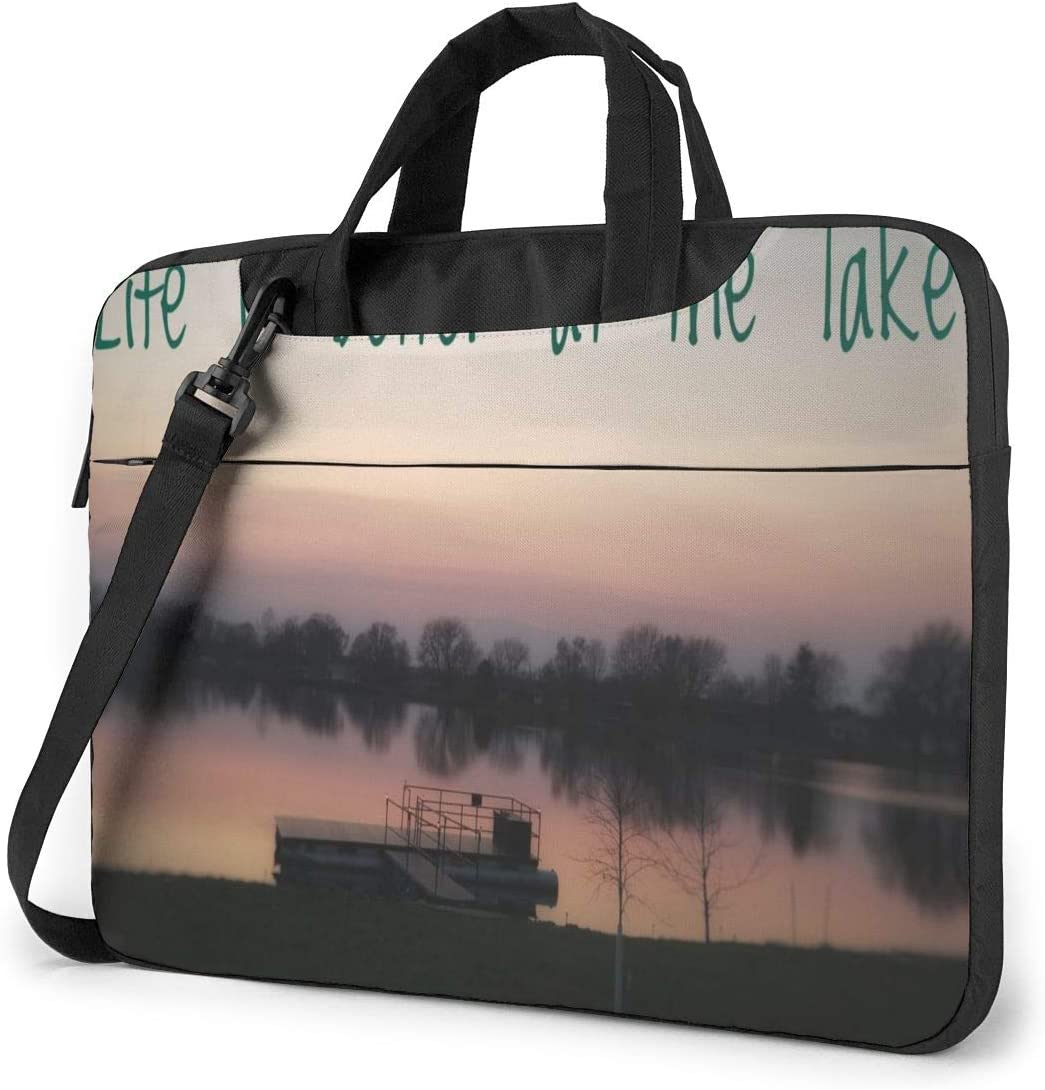 Life is Better at The Lake Laptop Case 15.6 Inch Carrying Case with Strap