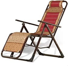 High-quality recliner Deckchair Sun Lounger Lounge Chair, Bamboo Weaving Balcony Office Recliner Sun Lounger Outdoor Garden Patio Gravity Chair Lazy Folding Chair (Color : Red)