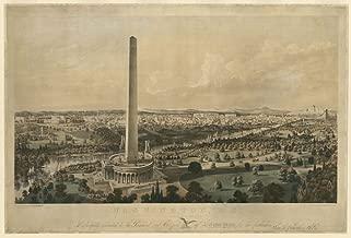 Historic Photos 1852 Photo Washington, D.C. with projected improvements Print showing bird's-eye view of Washington, D.C, with proposed Washington Monument. Location: Washington D.C.
