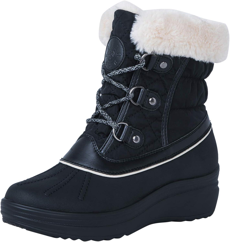 GLOBALWIN Women's 1823 Black Wedge Snow Boots 9M