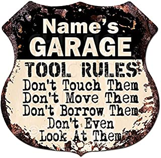 Chic Sign Name's GARAGE TOOL RULES Custom Personalized Sign Rustic Vintage Retro 11.5