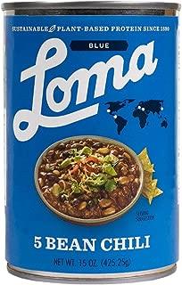 Loma Linda Blue - Plant-Based - Five Bean Chili (15 oz.) - Non-GMO, Gluten Free, Kosher