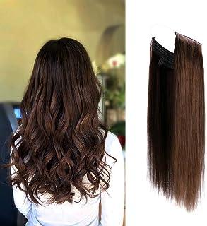 Premium Remy Human Hair Halo Hair Extensions Dark Brown 2#, 16 Inch. 100 Gram