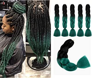 Jumbo Braiding Hair Extensions 5pcs 24inch Ombre Braiding Hair Yaki Kanekalon Synthetic Rainbow Jumbo Box Braids Ultra Braid (Black and Teal)#21