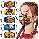 Lot de 5 bandanas réutilisables et respirants pour le visage, Halloween, anti-buée et anti-poussière, lavable en tissu en coton.