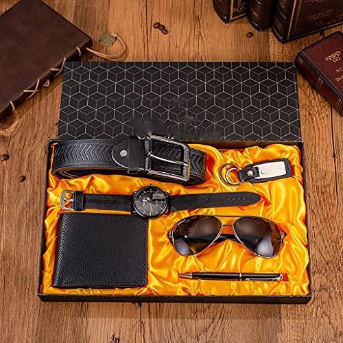 6 unids / set Set de los hombres Conjunto de regalo de los hombres Marca Dial Reloj de cuarzo Gafas Cinturón de cuero Cinturón Billetera Llavero Pen Boutique Regalo Conjunto de caja para hombres