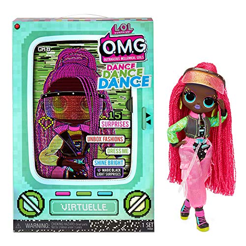 LOL Surprise OMG Dance Dance Dance Virtuelle Fashion Puppe mit 15 Überraschungen, Designer-Kleidung, Schwarzlichtlampe, Fashion Accessoires, Schuhen, Puppenständer und TV-Verpackung. Ab 4 Jahren