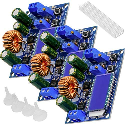 AZDelivery 3 x HW-140 DC-DC Buck Boost Power Converter Automatischer Step Up/Down, Volt- und Ampere-Meter-LCD-Anzeige, Spannungswandler 3A 5,5V-30V zu 0,5V-30V kompatibel mit Arduino inklusive E-Book!
