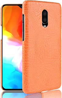 OnePlus 6T Case, Taiaiping [Ultra-Thin] Advanced PU Leather Grain Ultra-Thin Protection Phone Case Back Cover, Ultra-Thin Leather Case for OnePlus 6T (Orange)