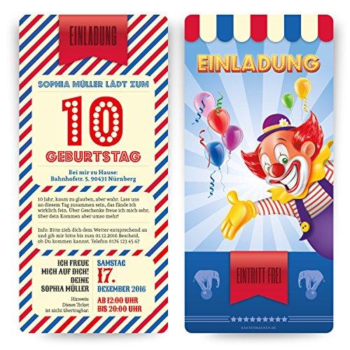Einladungskarten (20 Stück) zum Kinder Geburtstag im Zirkus Clown Ticket Motiv Einladung